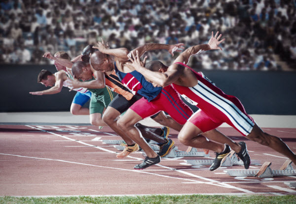 Men trying to win in a race